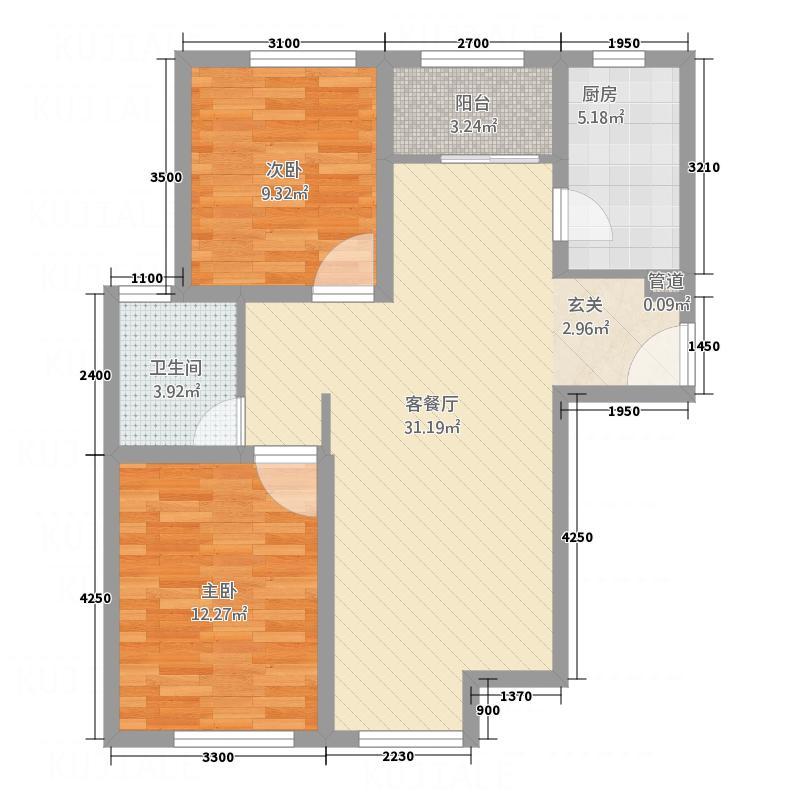 旺角华庭户型2室1厅