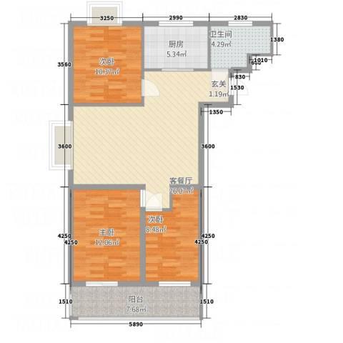 安泰・宏伟・祥和园3室1厅1卫1厨74.29㎡户型图
