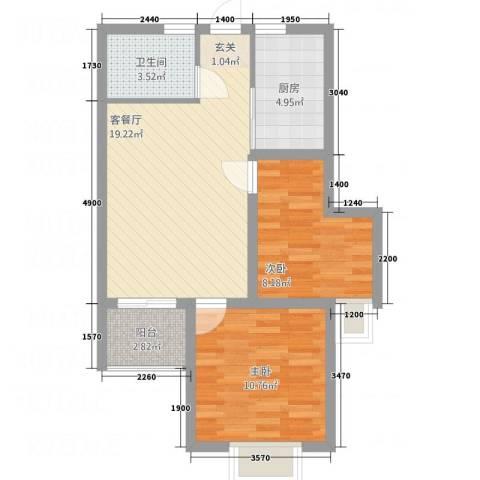 安泰・宏伟・祥和园2室1厅1卫1厨57.12㎡户型图