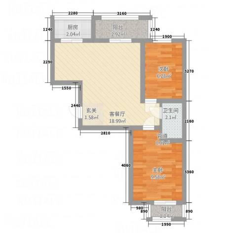 园东新村2室1厅1卫1厨65.00㎡户型图