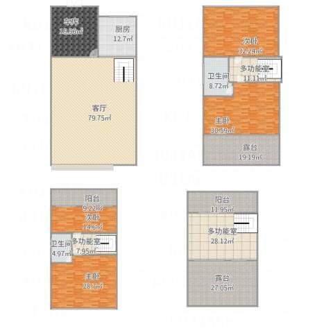 三寰滨海阳光联排别墅4室1厅2卫1厨456.00㎡户型图