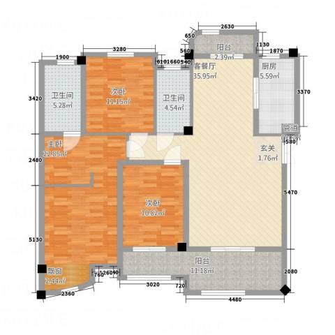 尚层建筑3室1厅2卫1厨157.00㎡户型图