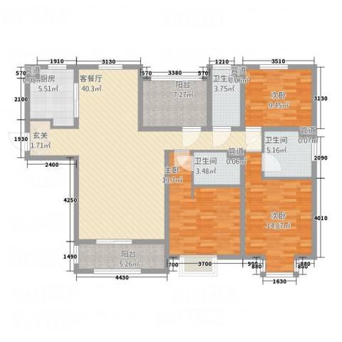 金河国际华庭3室1厅3卫1厨158.00㎡户型图