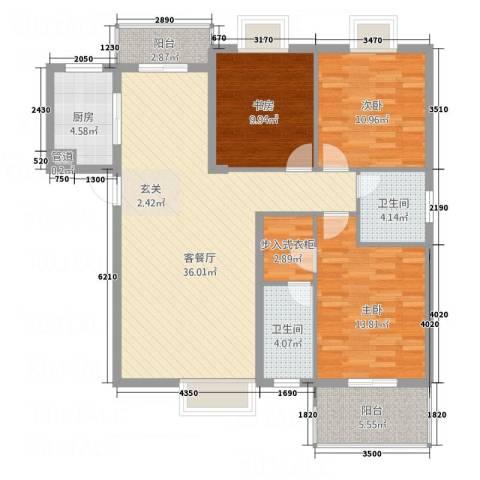 盛东豪庭3室1厅2卫1厨148.00㎡户型图
