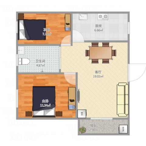 富达花园2室1厅1卫西52平方2室1厅1卫1厨70.00㎡户型图