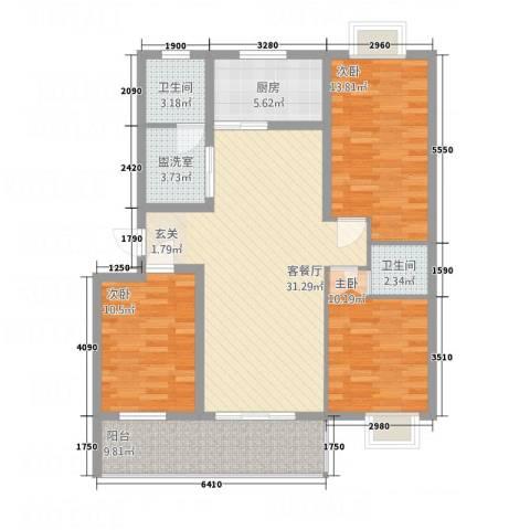 安泰・宏伟・祥和园3室2厅2卫1厨129.00㎡户型图