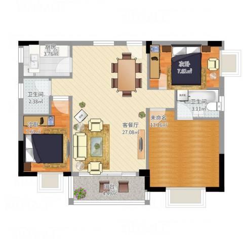 豪景新城2室1厅2卫1厨98.00㎡户型图
