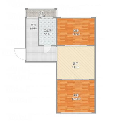 群富里2室1厅1卫1厨77.00㎡户型图