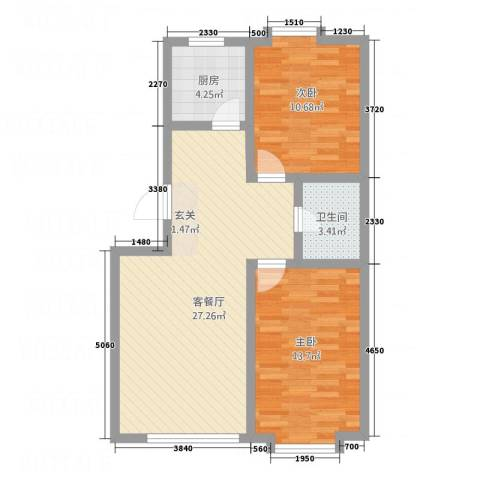 新地花园2室1厅1卫1厨64.00㎡户型图