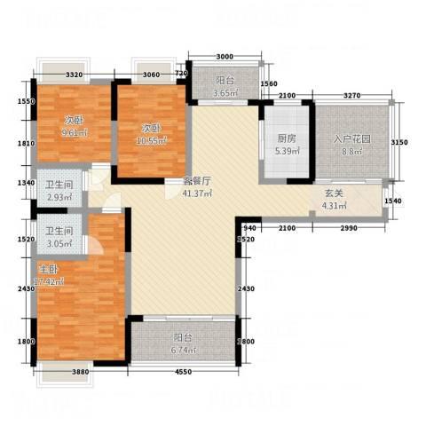 国色天香3室1厅2卫1厨109.51㎡户型图