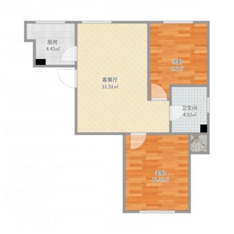 中冶蓝城2室1厅1卫1厨72.00㎡户型图