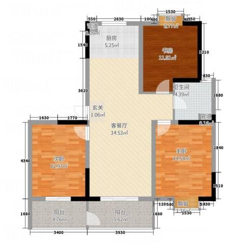 华都馨苑3室1厅1卫0厨125.00㎡户型图