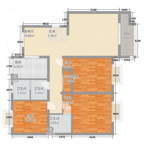 腾骐骏安3室1厅3卫1厨133.00㎡户型图