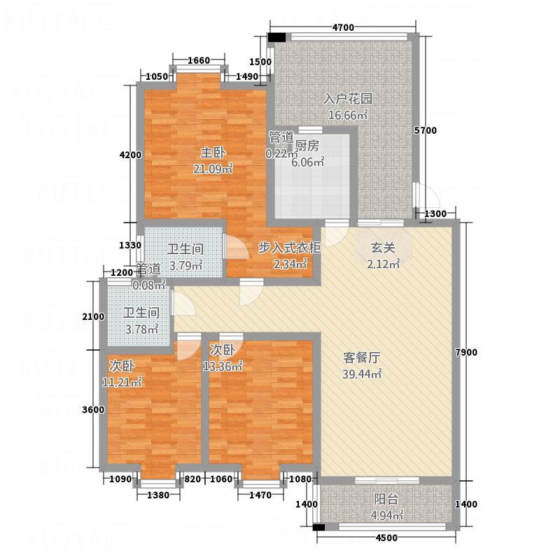 台北金城138.62㎡C户型3室2厅2卫1厨