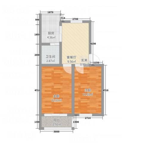 阳光帕提欧2室1厅1卫1厨64.00㎡户型图