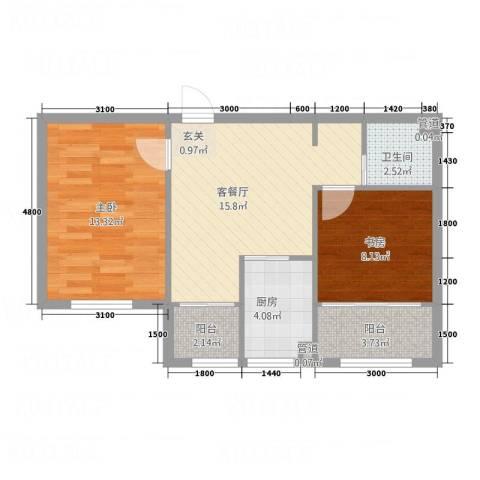 水御林溪2室1厅1卫1厨56.48㎡户型图