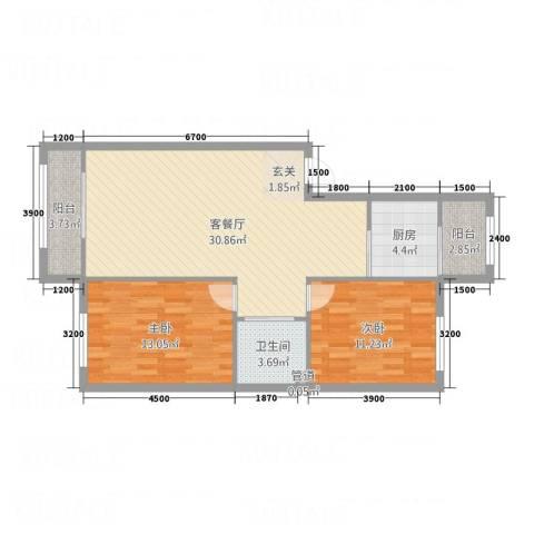 水御林溪2室1厅1卫1厨77.69㎡户型图