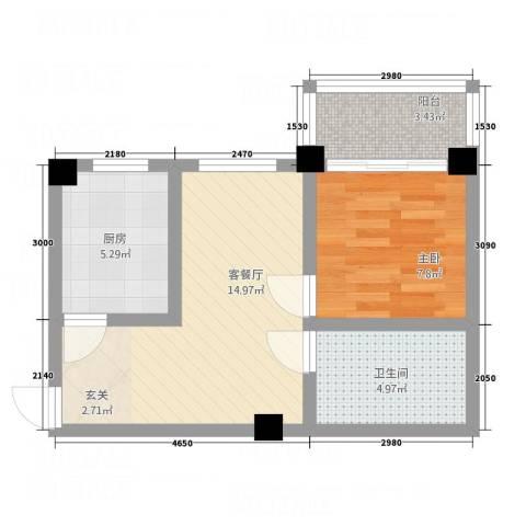 自由之邑1室1厅1卫1厨43.81㎡户型图