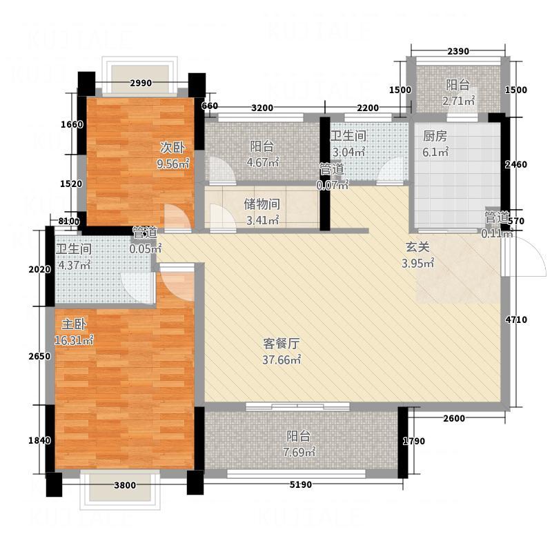 悦湖星城118.33㎡4栋B1户型3室2厅2卫1厨
