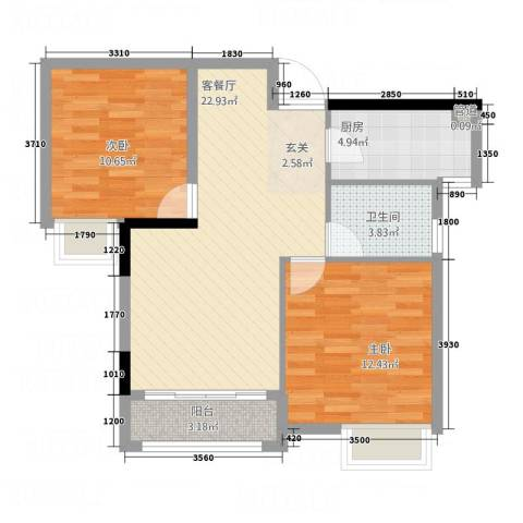 青年城1号2室1厅1卫1厨81.00㎡户型图