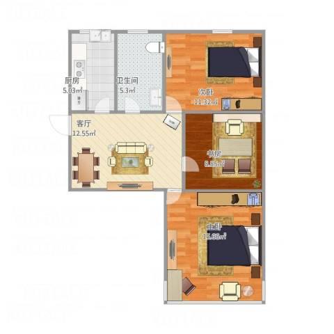 十五家园3室1厅1卫1厨79.00㎡户型图