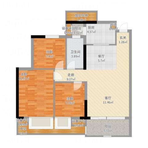 富力院士庭3室1厅1卫1厨114.00㎡户型图