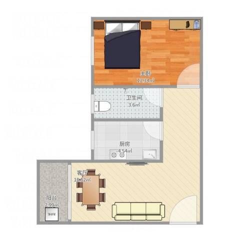 富达花园1厅1厨1卫北42平方1室1厅1卫1厨57.00㎡户型图