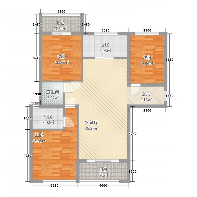 峰景1号132.27㎡6户型3室2厅2卫1厨