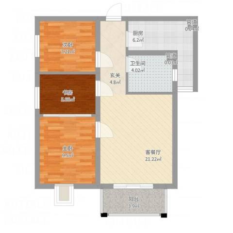 上上城青年社区二期3室1厅1卫1厨84.00㎡户型图