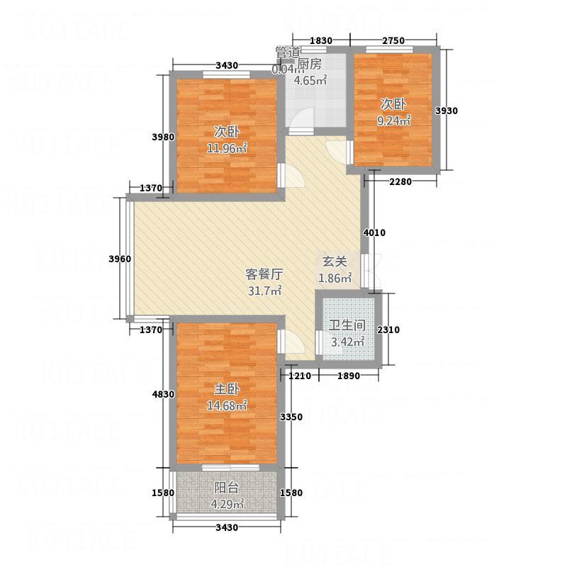 华世鑫城115.00㎡一期3号楼B户型3室2厅1卫1厨