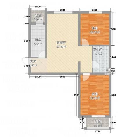 鑫鼎银河湾2室1厅1卫1厨96.00㎡户型图