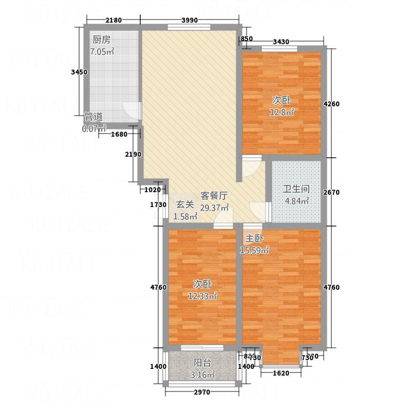 华世鑫城121.86㎡一期1号楼A户型3室2厅1卫1厨