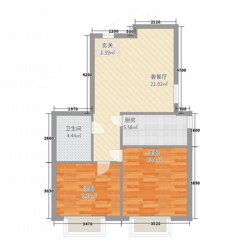 晟琳公寓74.10㎡C户型2室2厅1卫1厨