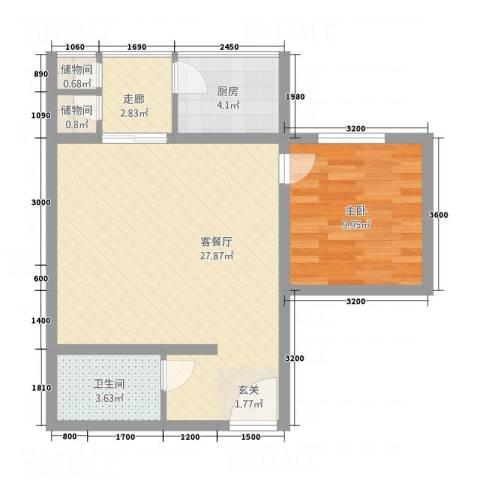 曲江雁唐府邸1室1厅1卫1厨57.21㎡户型图