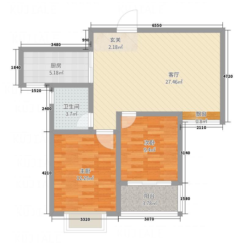 大华中央城86.00㎡二期高层C户型2室1厅1卫1厨