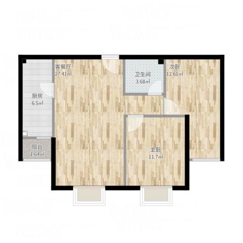 紫金新干线二期2室1厅1卫1厨88.00㎡户型图