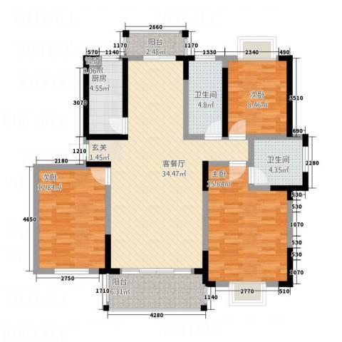 华府天地3室1厅2卫1厨136.00㎡户型图