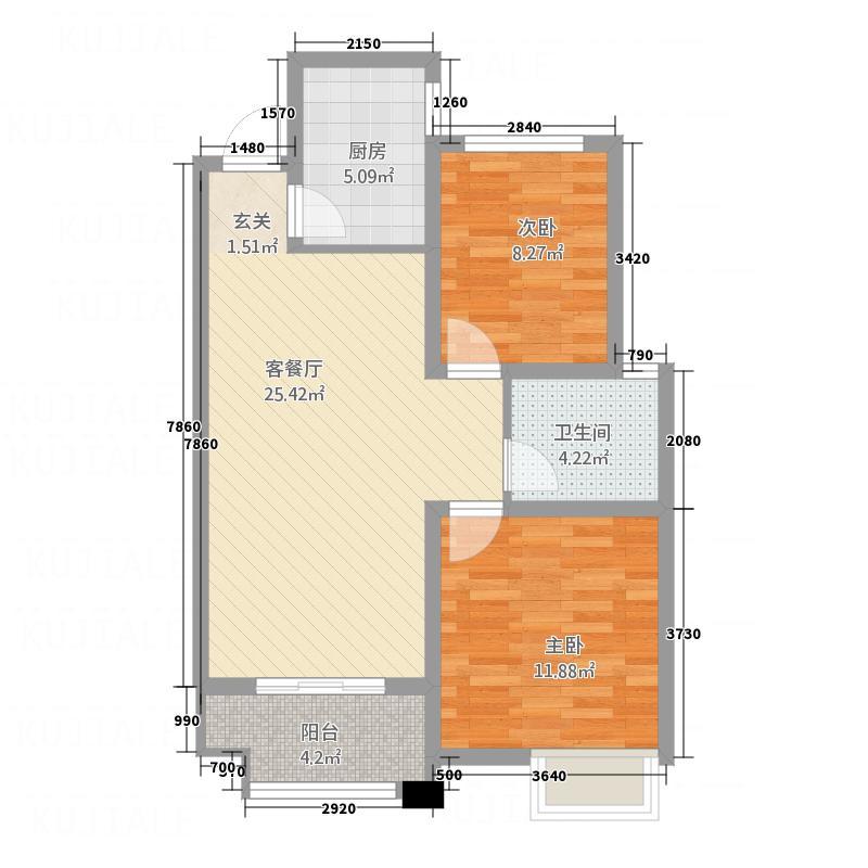 苹果国际85.00㎡B户型2室2厅1卫1厨