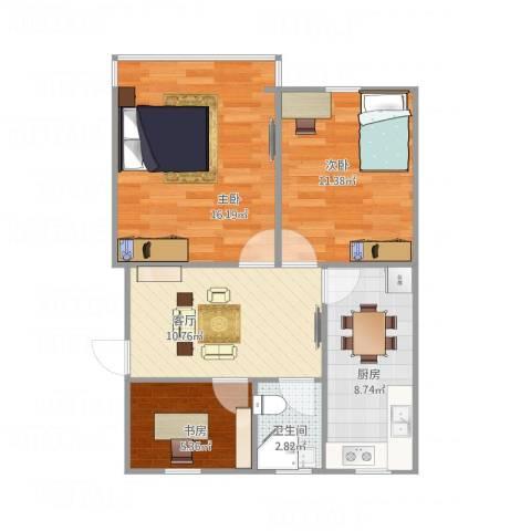 十五家园3室1厅1卫1厨75.00㎡户型图