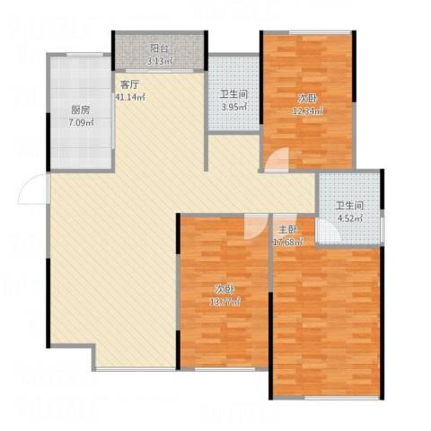 凯旋公馆3室1厅2卫1厨139.00㎡户型图