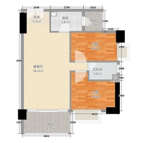 亿海湾2室1厅1卫1厨88.00㎡户型图