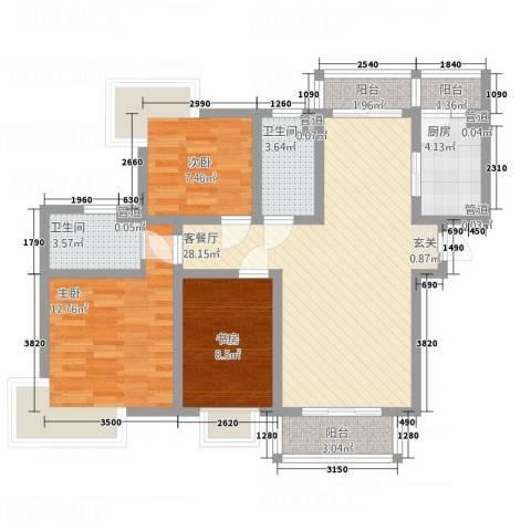 东湖大郡一期3室1厅2卫1厨111.00㎡户型图