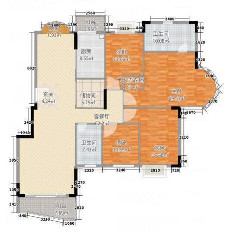 东城中心三期4室1厅2卫1厨238.00㎡户型图