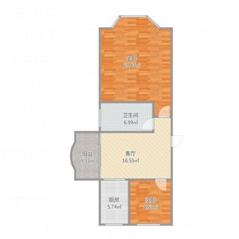 沁春园新一村2室1厅1卫1厨95.00㎡户型图
