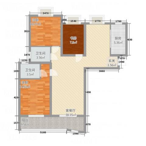 中央花城3室1厅2卫1厨134.00㎡户型图
