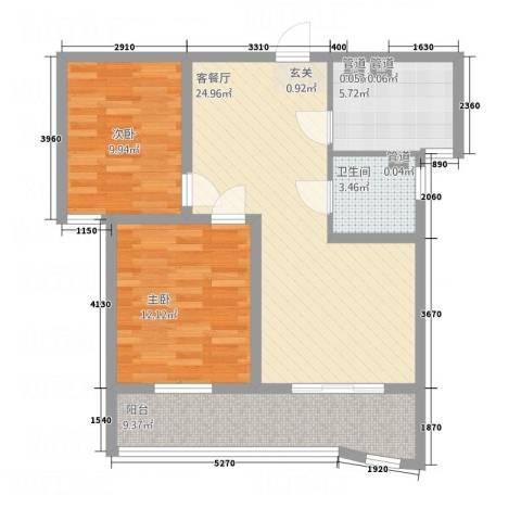 中央花城2室1厅1卫1厨65.73㎡户型图