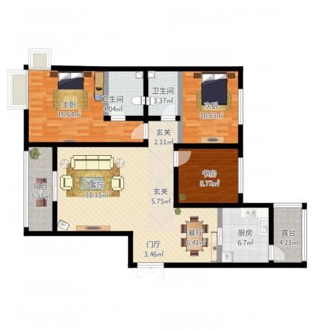 御景水城3期8#楼3室1厅2卫1厨142.00㎡户型图