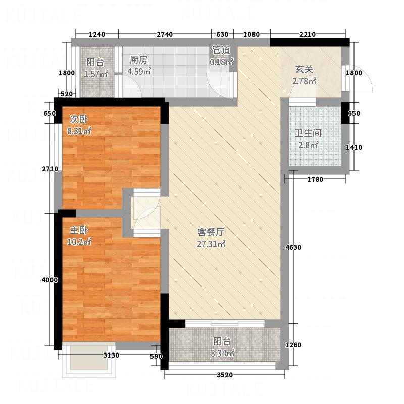蓝光状元府邸83.37㎡03户型2室2厅1卫1厨