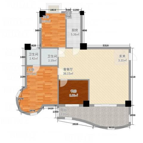 天翔世家3室1厅2卫1厨132.00㎡户型图
