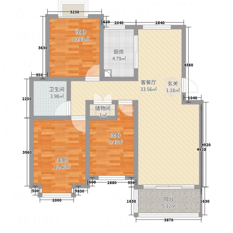 世纪风情117.33㎡2户型3室2厅1卫1厨